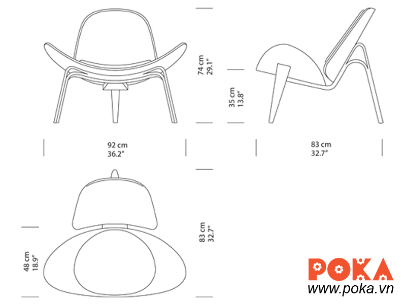 Shell chair dimensions