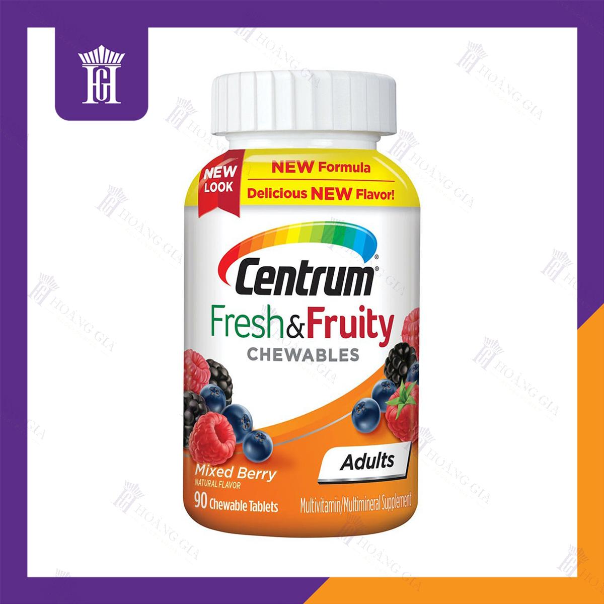 Vitamin tổng hợp dạng nhai dành cho Người lớn - Centrum Fresh & Fruity Adults