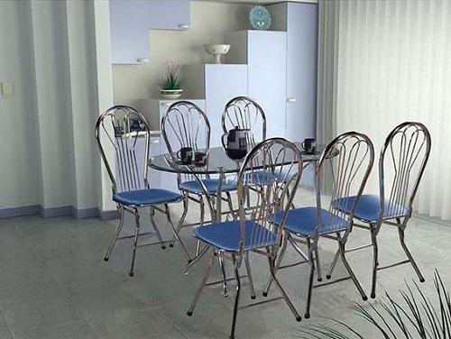 bàn ghế ăn inox chân gấp