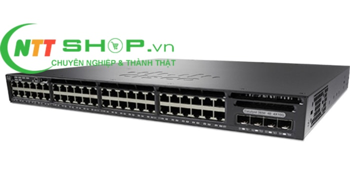 Thiết bị mạng Switch Cisco WS-C3650-48PD-S 48 10/100/1000 Ethernet PoE+ and 2x10G Uplink ports, with 640WAC power supply, 1 RU, IP Base