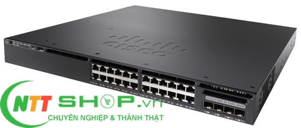 Thiết bị mạng Switch Cisco WS-C3650-24PS-L 24 10/100/1000 Ethernet PoE+ and 4x1G Uplink ports, with 640WAC power supply, 1 RU, LAN Base