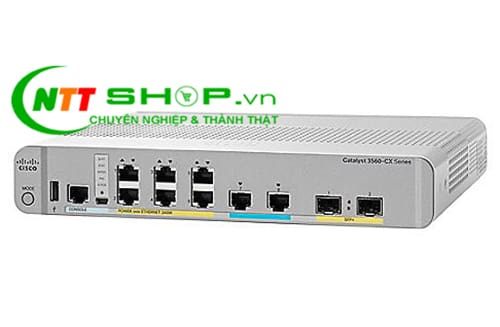 Switch Cisco WS-C3560CX-8XPD-S 3560-CX 6 port GE PoE+, 2 MultiGE PoE+, uplinks: 2 x 10G SFP+, IP Base
