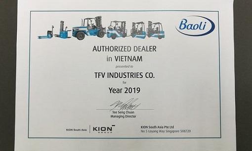 Chứng nhận phân phối xe nâng Kion Baoli tại TFV Industries
