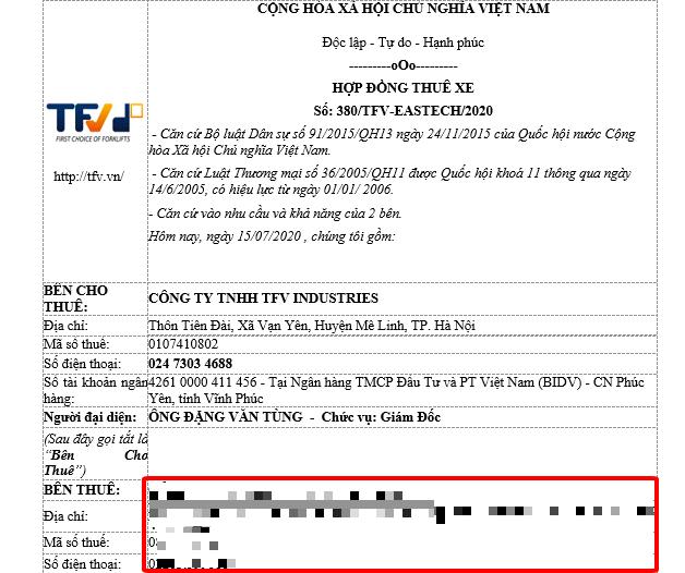 Mẫu hợp đồng thuê xe của TFV