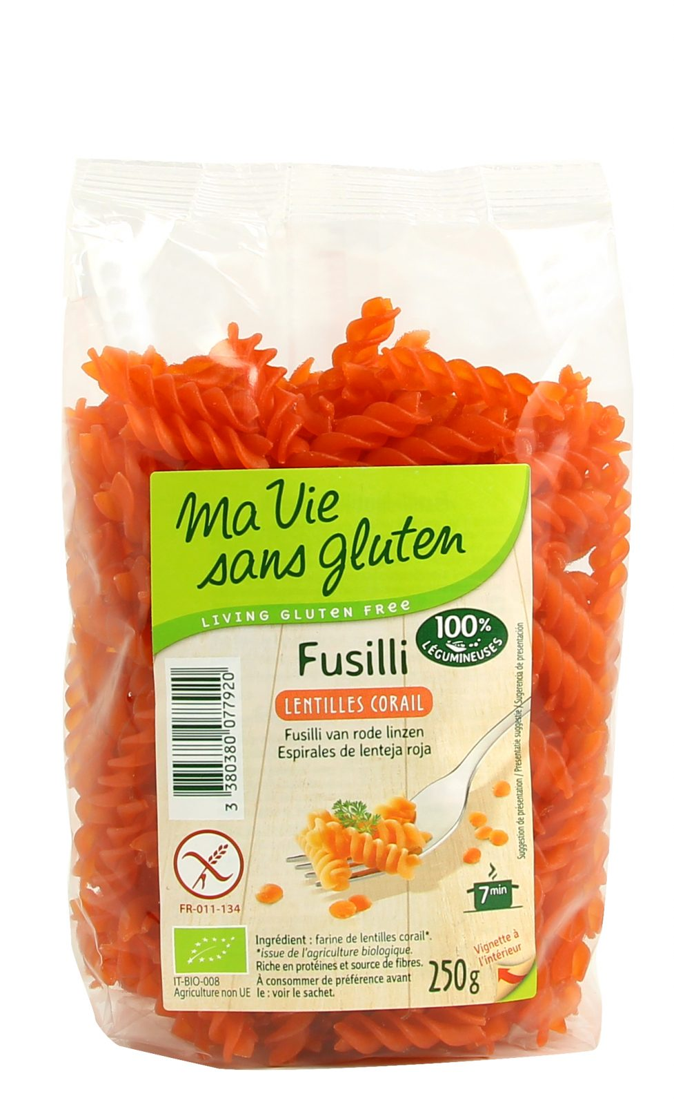 [Ma Vie Sans Gluten] Nui Xoắn Đậu Lăng Đỏ Hữu Cơ 250g
