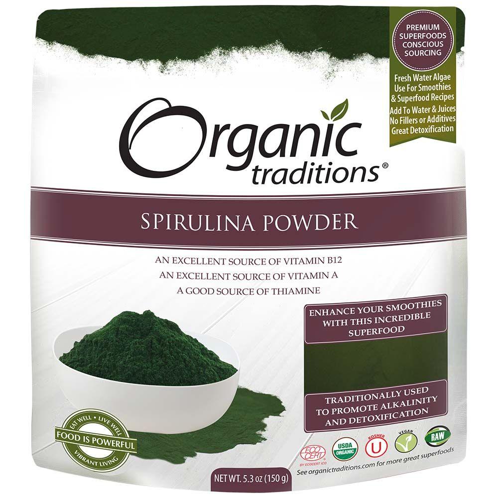 Tảo Bột Spirulina Hữu Cơ Organic Traditions 150g