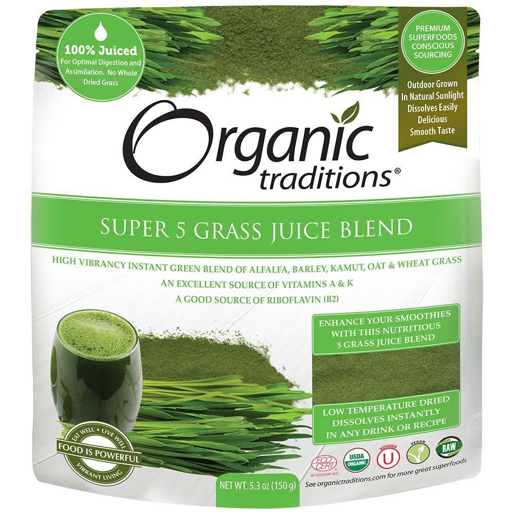Bột Nước Ép 5 Loại Mạ Hữu Cơ ( Organic Super 5 Grass Juice Powder ) Organic Traditions 150g