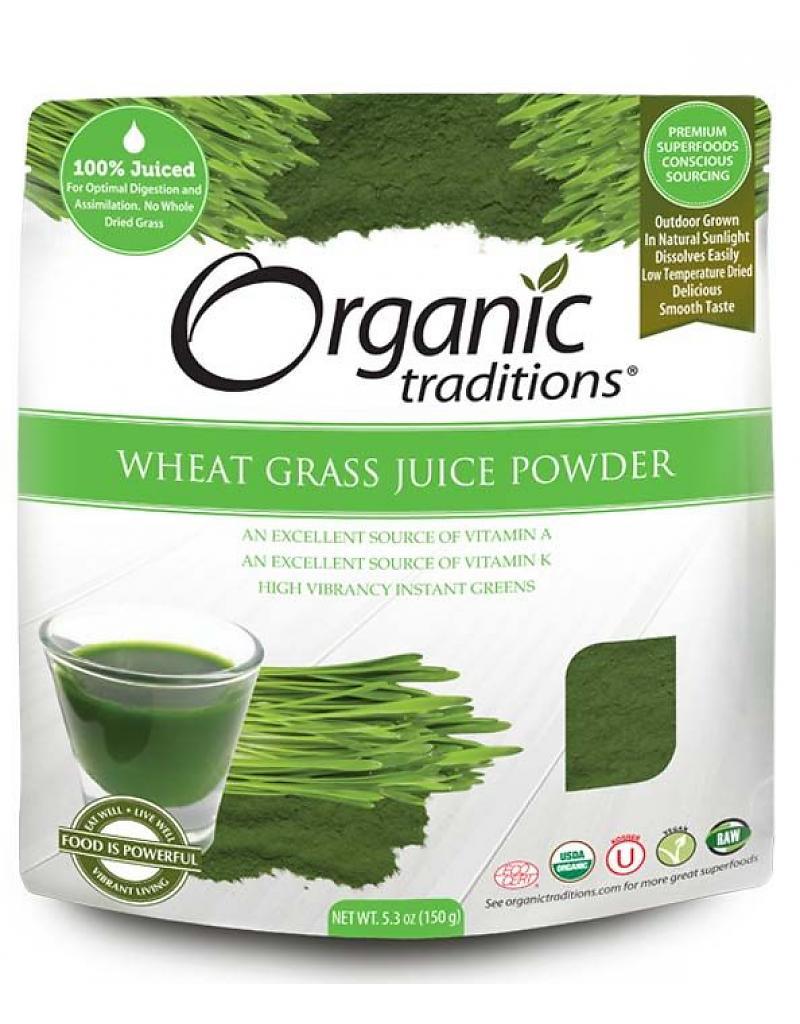 Bột Nước Ép Cỏ Lúa Mì Hữu Cơ ( Organic Wheat Grass Juice Powder ) Organic Traditions 150g