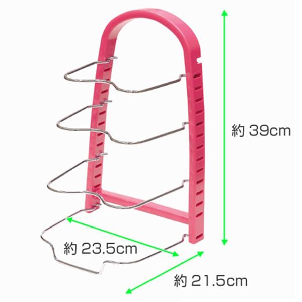 Kệ để chảo, vung nồi bằng thép 4 tầng màu hồng