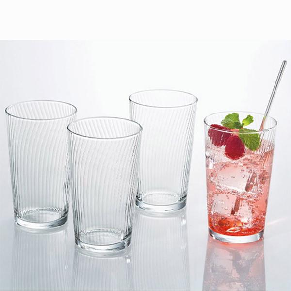 Set 4 cốc thủy tinh 300ml họa tiết vân dọc