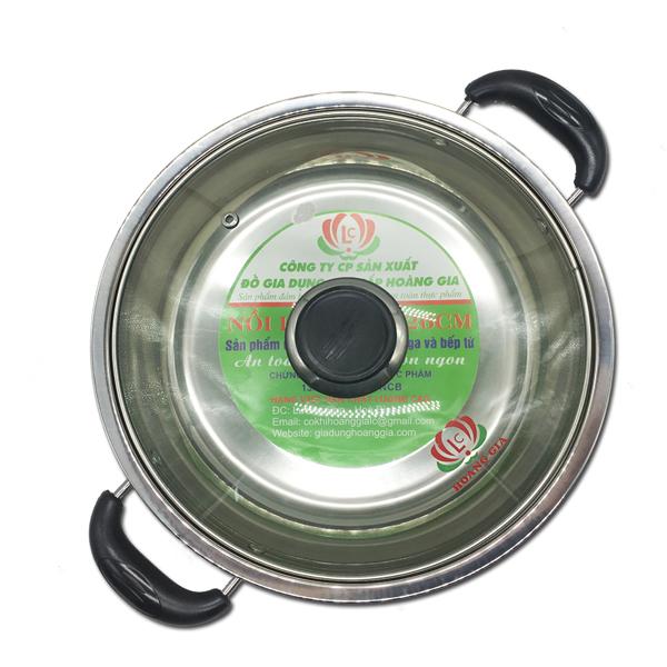 Nồi lẩu inox đáy từ  hiệu Hoàng Gia loại quai  bọc nhựa chịu nhiệt cỡ 26cm (Bạc)