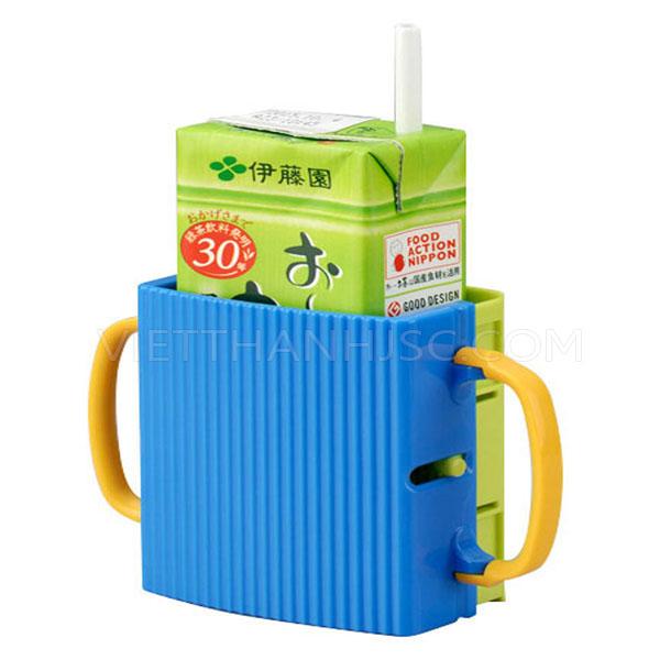 Giá đựng hộp sữa có quai cầm cho bé màu xanh