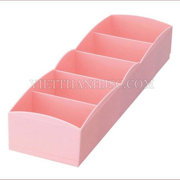 Hộp đựng tất, đồ lót 5 ngăn  màu hồng
