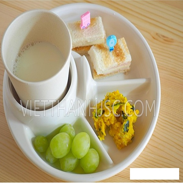 Khay ăn 3 ngăn cho bé có kèm khay để cốc, thìa dĩa - màu trắng