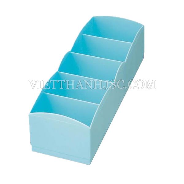 Hộp đựng tất, đồ lót 5 ngăn màu xanh