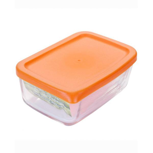 Hộp thủy tinh 400ml nắp cam