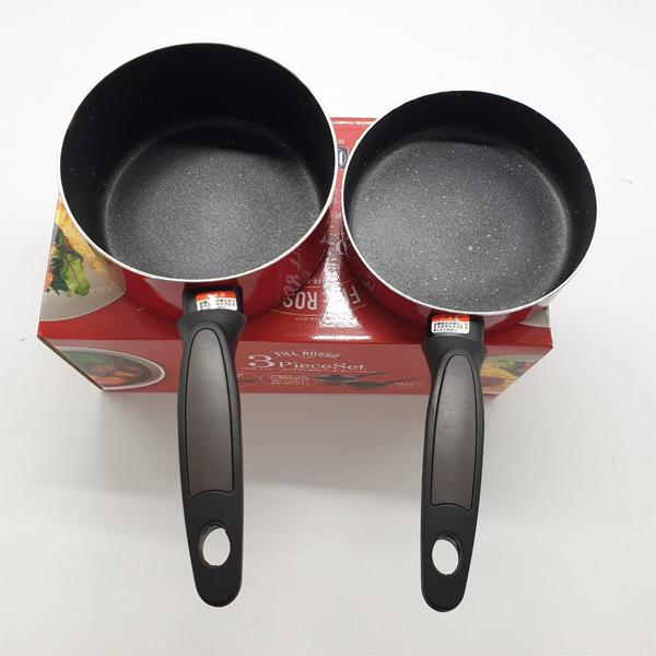 Bộ 2 nồi chảo chống dính-nắp kính-có tay cầm- nấu bếp từ-nhật bản cỡ 16cm ( nấu bột, cháo, chiên, rán )
