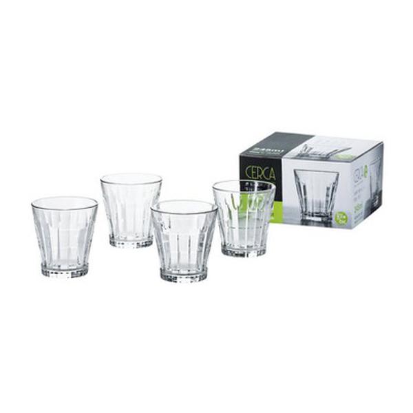 Set 4 cốc thủy tinh 320ml kẻ sọc