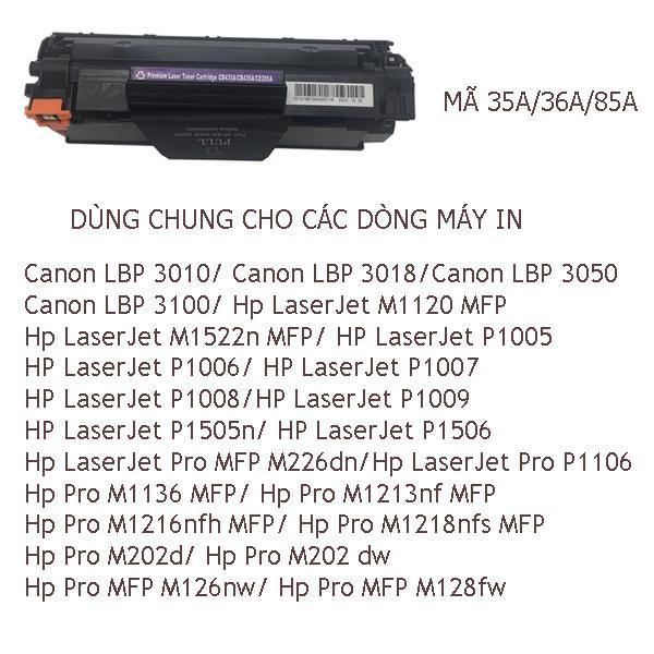 Hộp mực HP35A/36A/85A, HP P1005/P1006/P1120W/1102,M1212/M1132