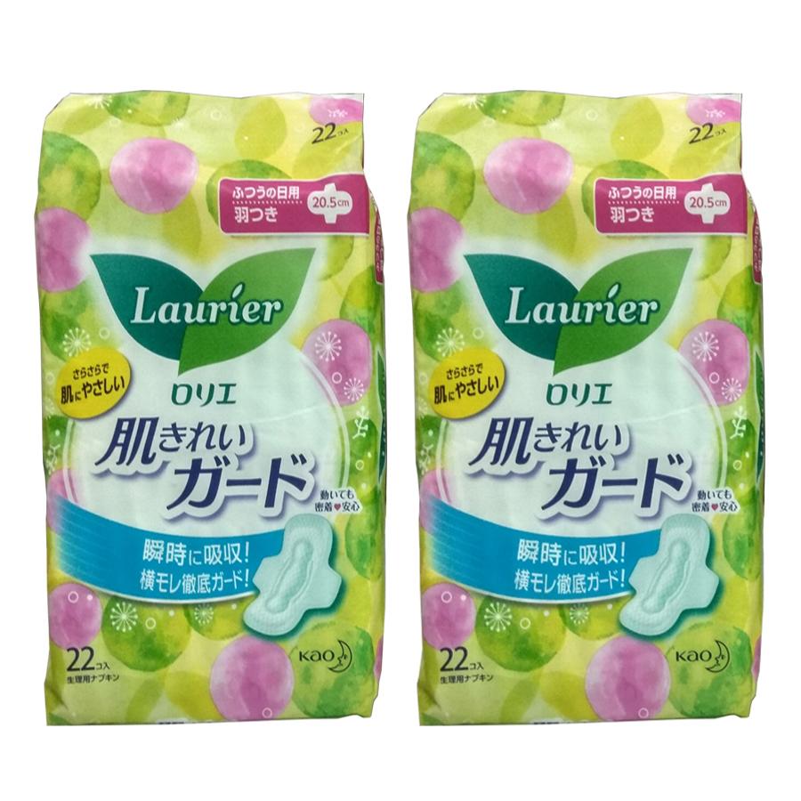 Set 2 gói băng vệ sinh ngày Laurier có cánh ( 22 miếng/gói) hàng nhật nhập khẩu