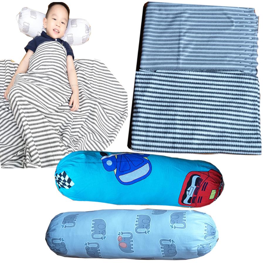 Chăn hè thu trẻ em hàng thái lan chất liệu nỉ mẫu kẻ sọc kích thước 130cm x 170cm + tặng kèm 01 gối ôm trẻ em