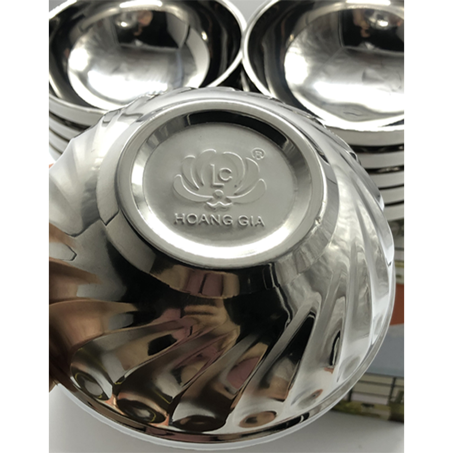 Bộ 10 bát cơm inox 2 lớp cách nhiệt  mẫu xoắn cỡ 11.5cm