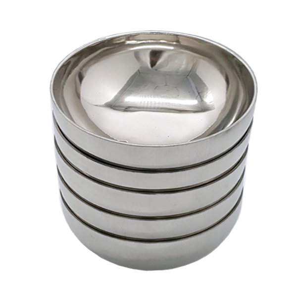 Bộ 5 bát tô canh inox 2 lớp cách nhiệt cỡ 20cm mẫu trơn