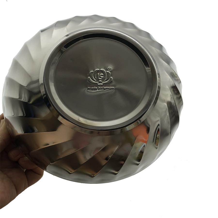 Bộ 10 bát tô Inox 2 lớp cách nhiệt Hoàng Gia mẫu xoắn cỡ 16cm