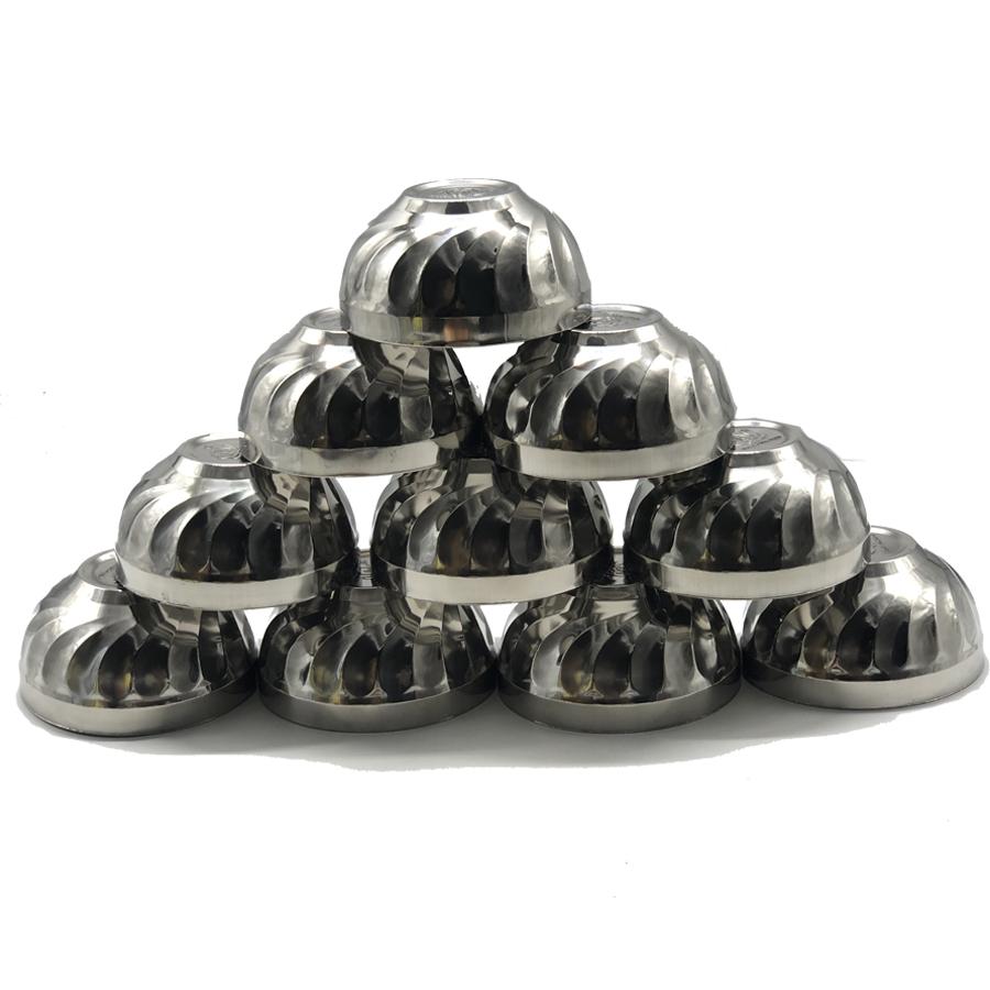Bộ 10 bát cơm Inox  2 lớp cách nhiệt Hoàng Gia mẫu xoắn cỡ 14cm