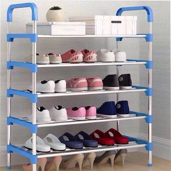 Kệ giày dép INOX 5 tầng  cao 95x60x30cm màu xanh,đen,hồng