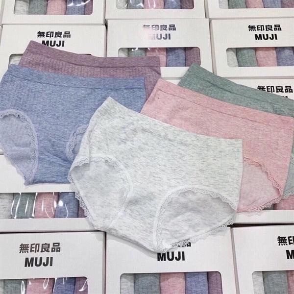Quần lót nữ MUJI Hộp 5 chiếc nhiều màu 100% cotton kháng khuẩn