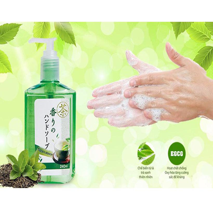 Sữa rửa tay diệt khuẩn hương trà xanh, hương trà đen 240 ml nhập khẩu nhật bản