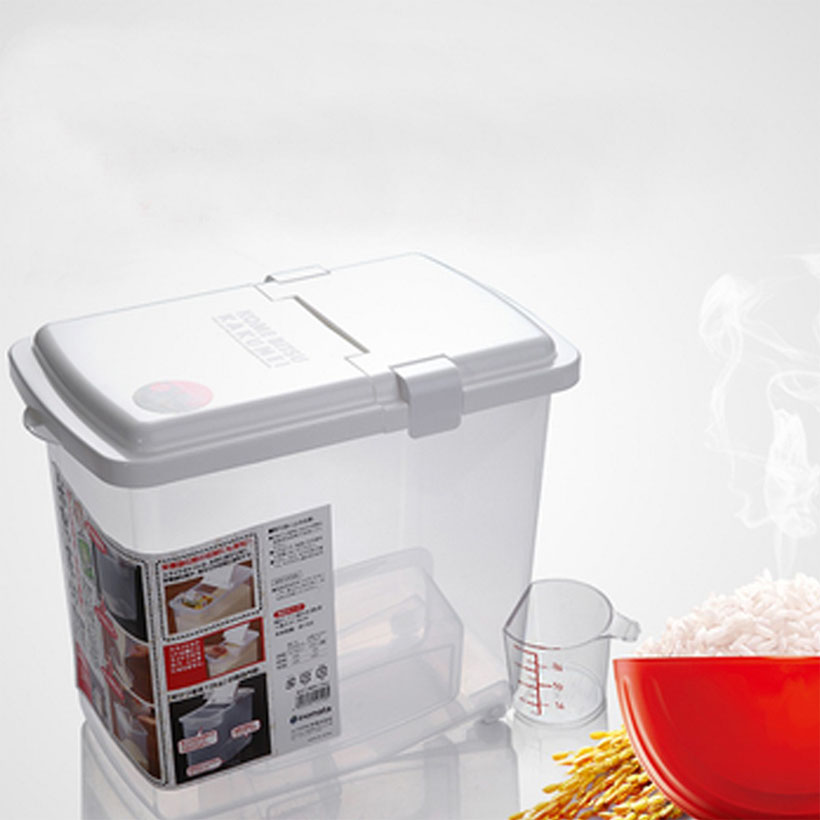 Thùng đựng gạo 10kg thông minh có nắp, bánh xe  và ca đong gạo nhập khẩu nhật bản