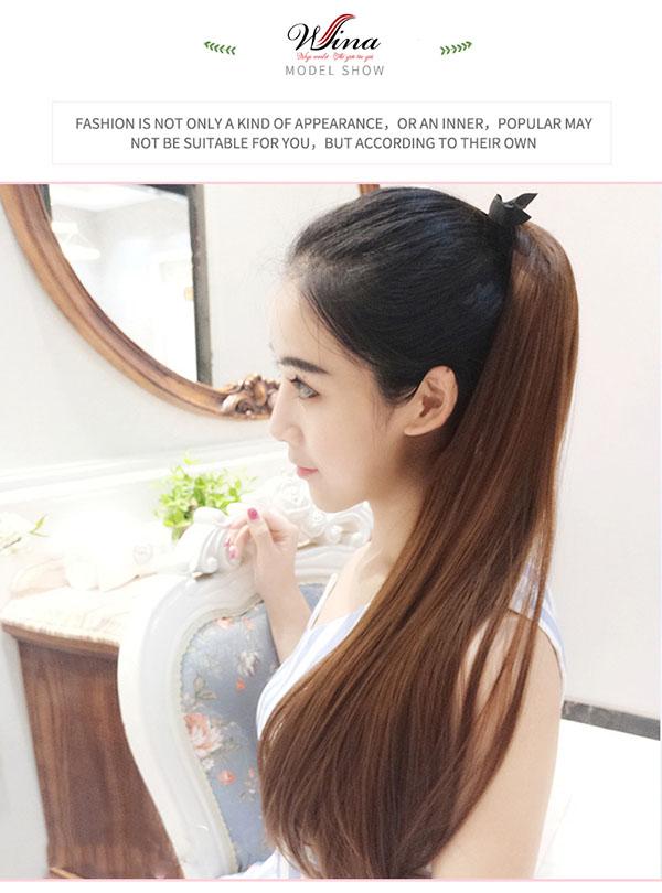 Tóc cột quặm giả bằng tóc thật TCT-03