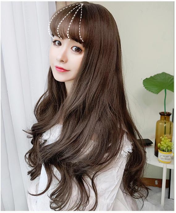 Tóc giả dài xoăn nhẹ W-15