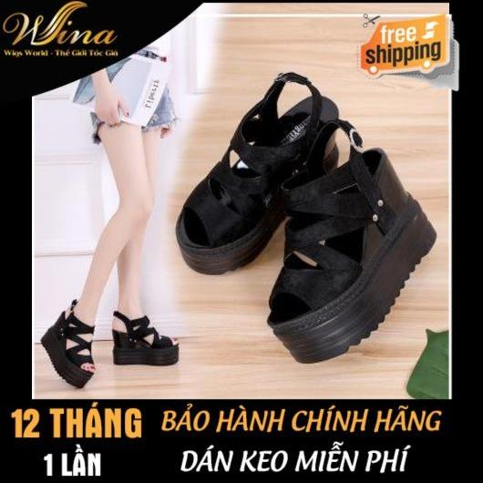 Sandal Đế Xuồng 12cm DX52 Trắng & Đen
