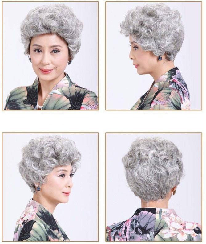 Tóc Giả Nguyên Đầu Trung Niên WINA Xoăn Bạc Tơ Đẹp W-8002