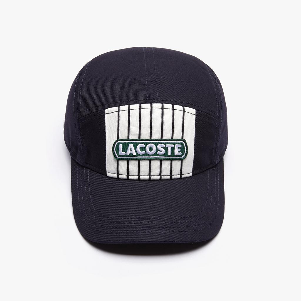Mũ Lacoste Striped Cotton – Navy