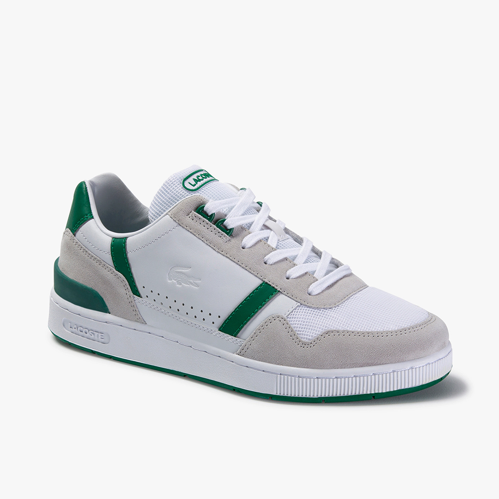 Giày Lacoste T-Clip Leather and Suede (Trắng/Xanh)