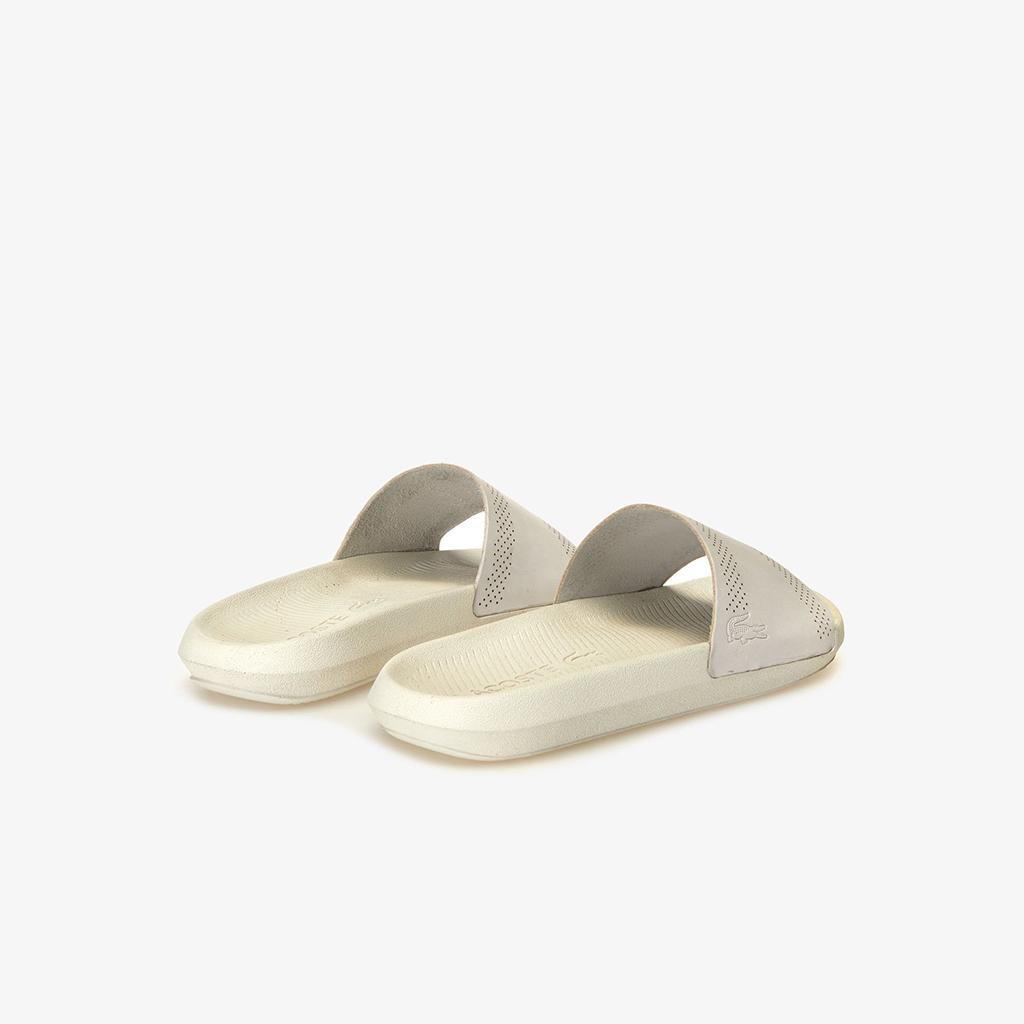 Dép Lacoste Croco Leather Slides (Trắng sữa)