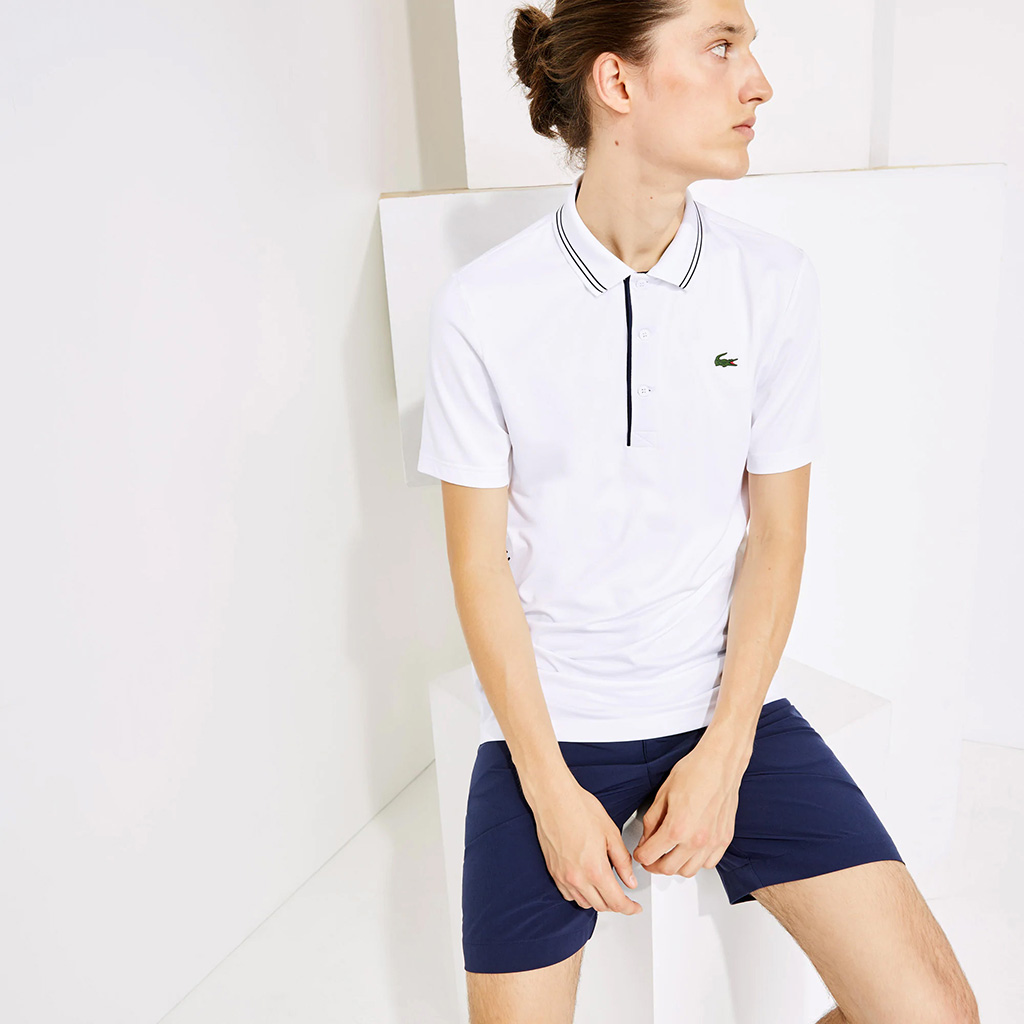 Áo Lacoste SPORT Signature Breathable Polo (Trắng)