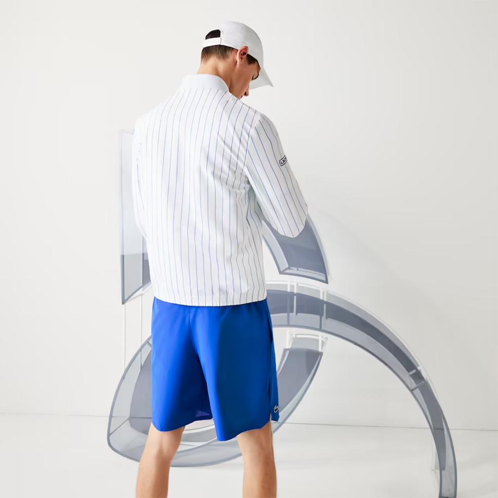 Áo khoác Lacoste SPORT x Novak Djokovic kẻ sọc, Bomber - Trắng