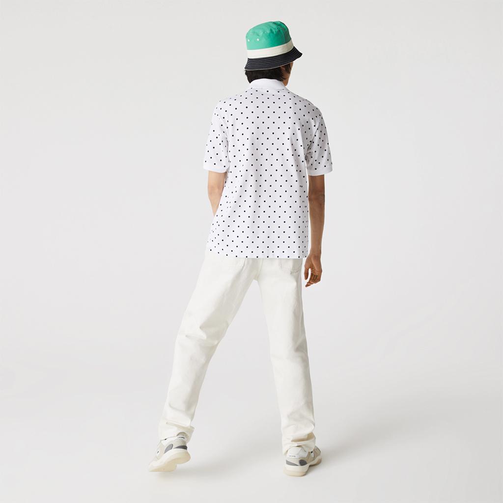 Áo Lacoste Polka Dot Cotton Piqué Polo (Classic Fit) – Trắng