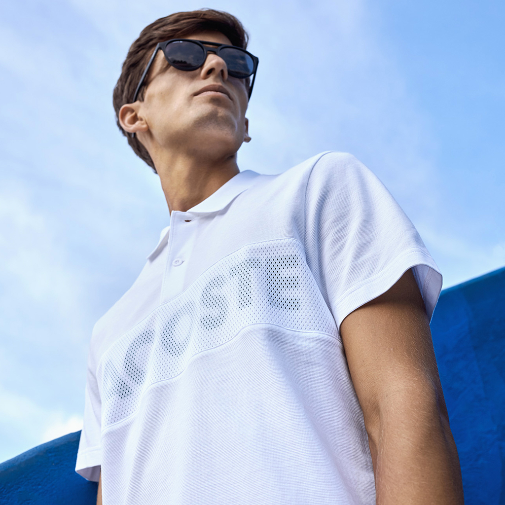 Áo Lacoste SPORT Rubber Lettering Ultra Light Cotton And Mesh Polo – Trắng