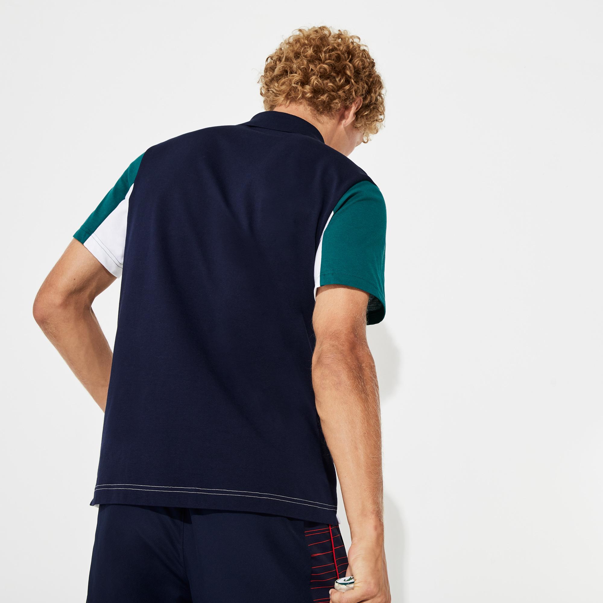 Áo Polo Lacoste SPORT Ultra-Light Colourblock (Trắng/Navy/Green)