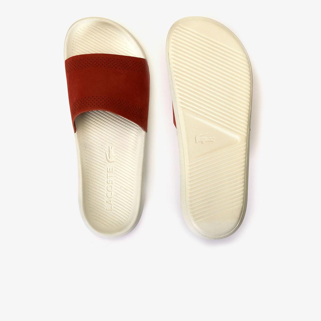 Dép Lacoste Croco Leather Slides (Đỏ đun)