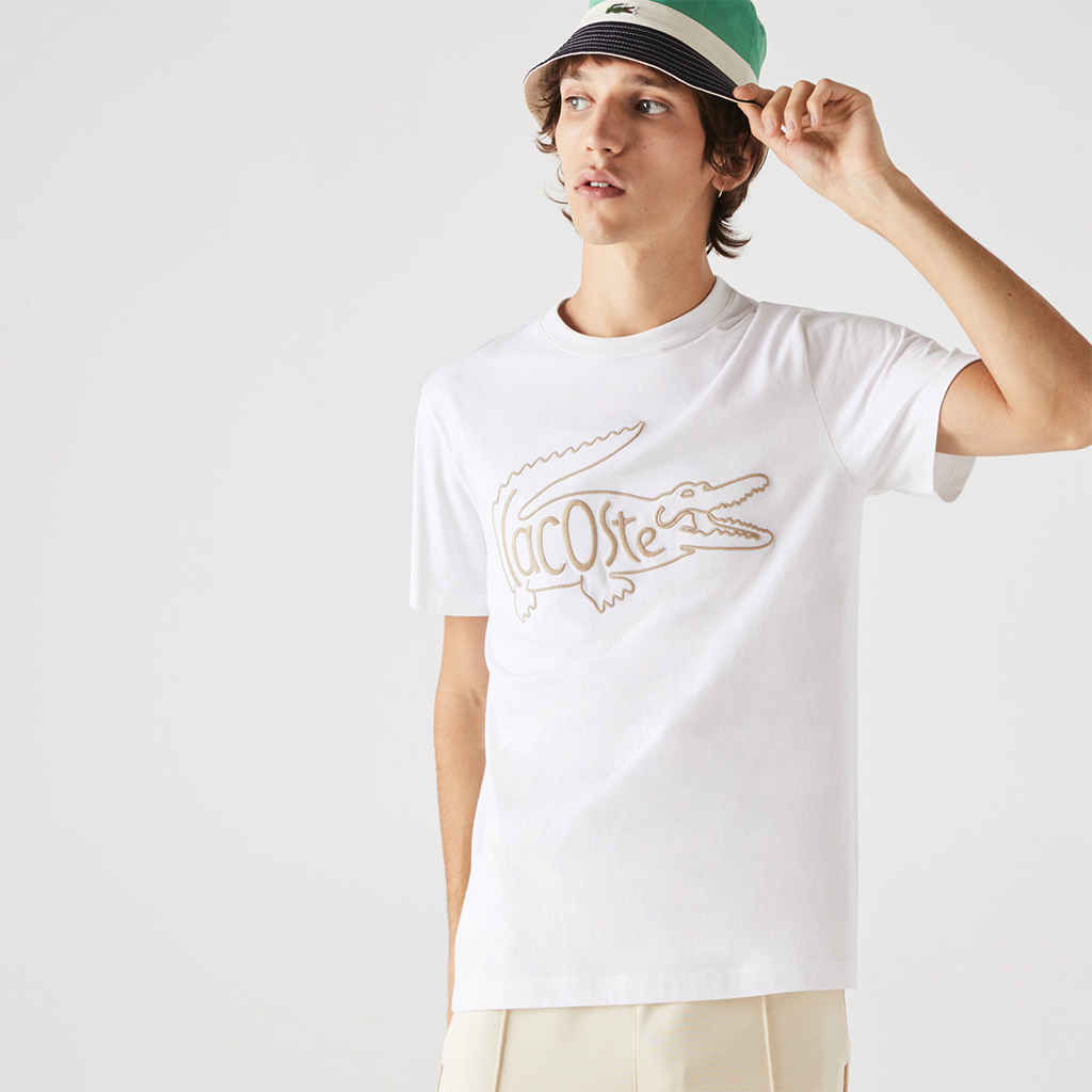 Áo Lacoste Crocodile-Embroidery Cotton T-shirt – Trắng