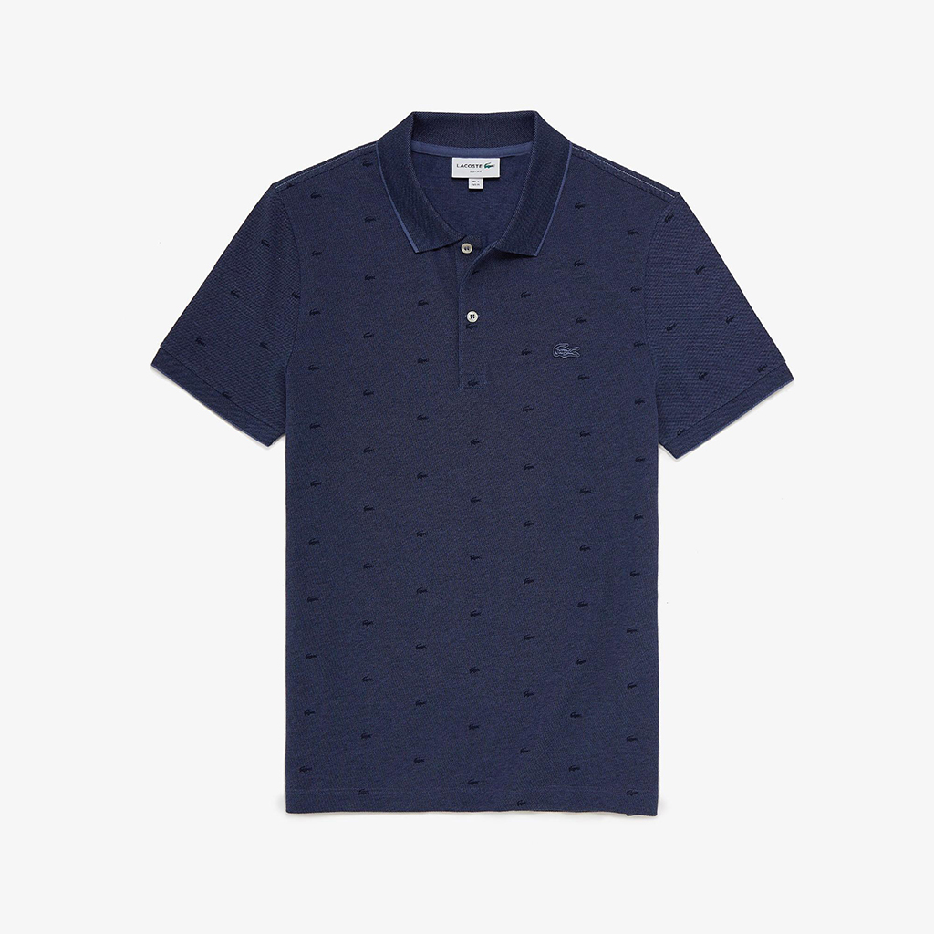 Áo Lacoste Micro Print Polo (Slim Fit) – Navy