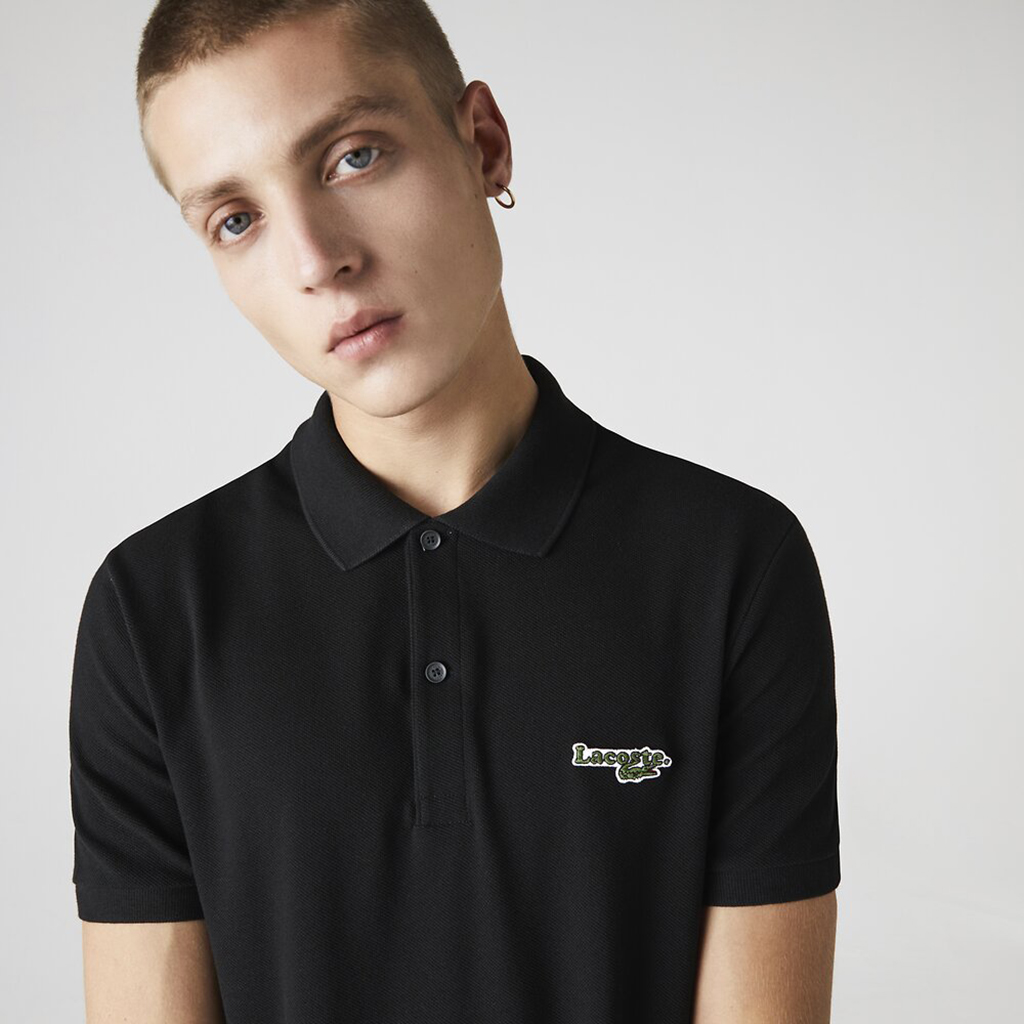 Áo Lacoste Polo with Badge (Regular Fit) – Đen