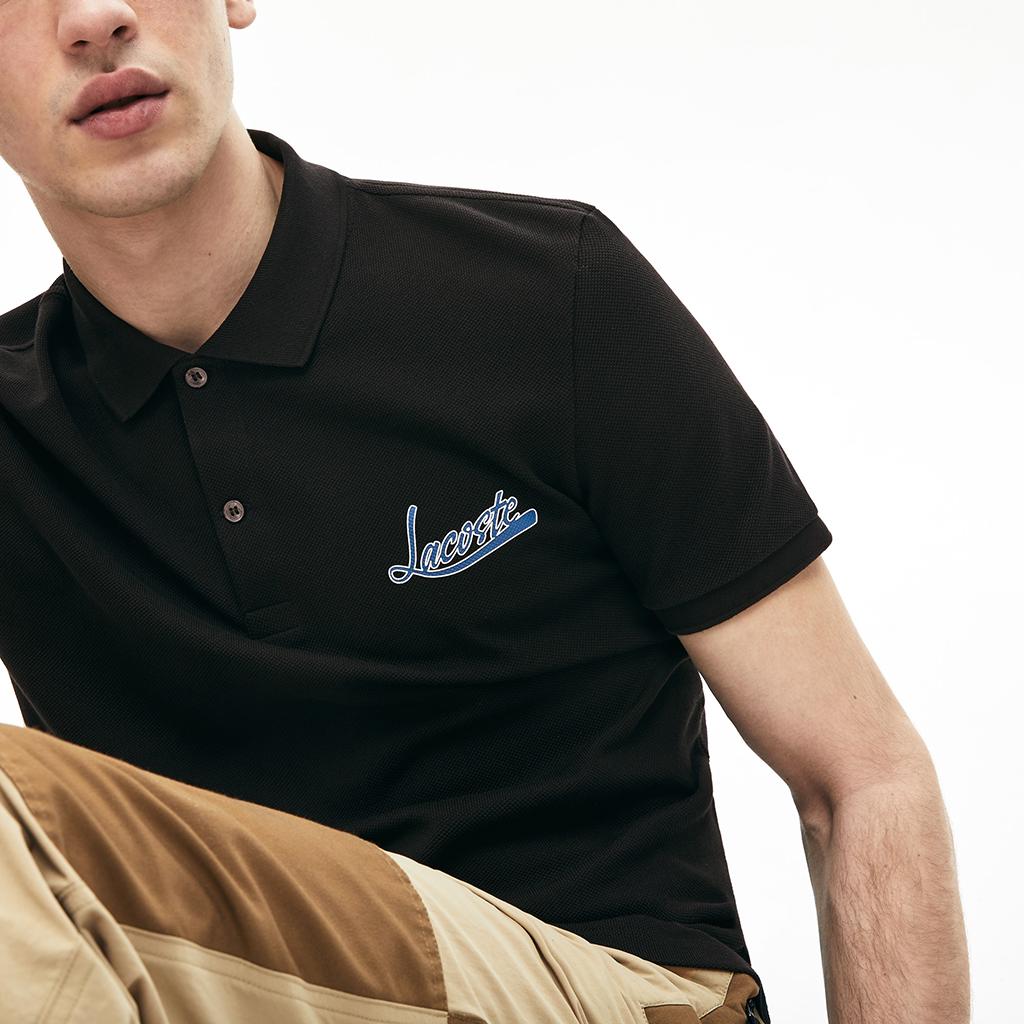 Áo Lacoste Signature Cotton Polo (Slim Fit) – Đen